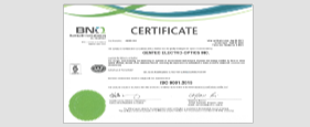 Renewal of Gentec-EO's ISO 9001-2015 Certification