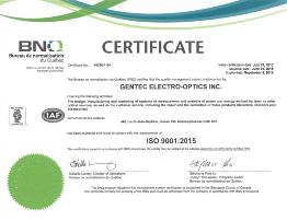 Renewal of Gentec-EO's ISO 9001-2015 Certification